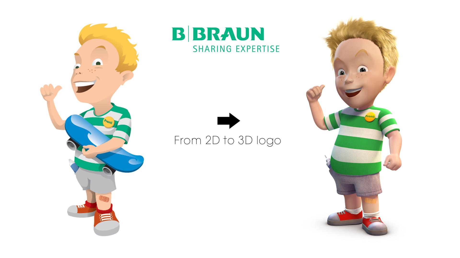 Bbraun transforming 2d to 3d logo cartoon character